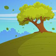 Tree on the hill Stock Illustration