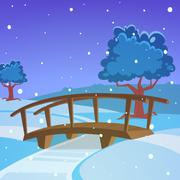 Winter landscape with bridge Stock Illustration