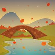 Landscape with bridge - autumn - stock illustration