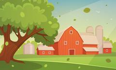 Farm Cartoon Landscape Stock Illustration