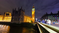 Time-lapse of Big Ben and Westminster in London Stock Footage