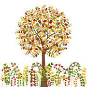 Colorful Autumn Tree Background - stock illustration