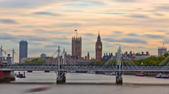 Slider time-lapse of Big Ben from Charing Cross, London. Stock Footage