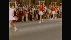 Baton twirling in 1954 parade Stock Footage