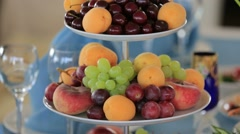 Multilayer Dish With Lot of Different Season Fruits Stock Footage