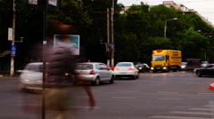 Crowded Intersection, Bucharest, Romania, Time Lapse, Pan Stock Footage