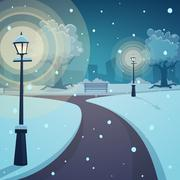 Winter night in the park Stock Illustration