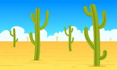 Desert Cartoon Landscape - stock illustration