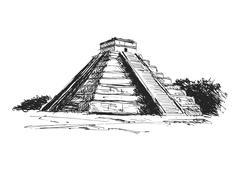 Stock Illustration of hand drawing maya pyramid