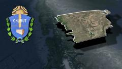 Chubut with Coat of arms animation map Stock Footage