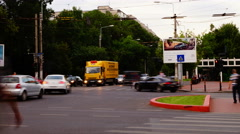 Crowded Intersection, Bucharest, Romania, Time Lapse, Static Shot Stock Footage