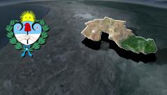 Jujuy with Coat of arms animation map Stock Footage