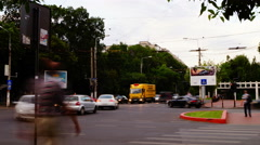 Crowded Intersection, Bucharest, Romania, Time Lapse, Zoom In Stock Footage