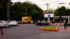 Crowded Intersection, Bucharest, Romania, Time Lapse, Zoom Out Stock Footage