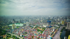 Time Lapse - Looking Downtown at the Cityscape of Hanoi, Vietnam Stock Footage