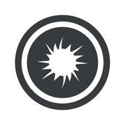 Round black starburst sign Stock Illustration