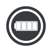 Round black full battery sign - stock illustration