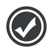 Round black tick mark sign - stock illustration