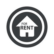 Round black For Rent sign Stock Illustration