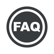Round black FAQ sign - stock illustration