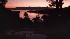 Static silouhette shot of dusk above Emerald Bay, Lake Tahoe, California. Stock Footage