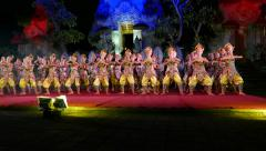 Modern Balinese dance performance, large woman group sway, night stage Stock Footage