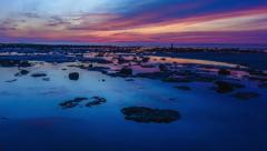 4K Time Lapse: Beautiful tropical sunset in the sea at low tide - stock footage
