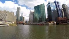 Chicago cityscape from the Architecture Foundation River Cruise. Stock Footage