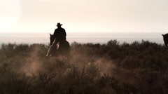 Slow motion shot of cowboys galloping through desert. - stock footage