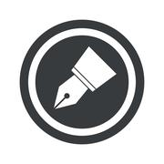 Round black pen nib sign - stock illustration