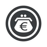 Round black euro purse sign - stock illustration