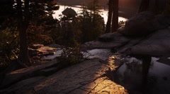 Dusk shot of stream surrounded by trees above Emerald Bay, Lake Tahoe, Stock Footage