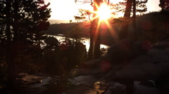 Dusk shot of stream with sunbeam in background above Emerald Bay, Lake Tahoe, Stock Footage