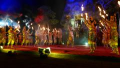 Theatrical duel at night Balinese performance, main villain fight against hero Stock Footage