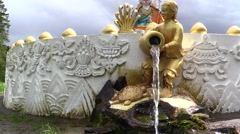 Tibetan fountain. Stupa. buddha statue. Samyeling temple Stock Footage