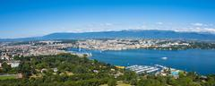 Aerial view of Leman lake -  Geneva city in Switzerland - stock photo