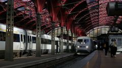 High Speen Tilting train arriving at Copenhagen Central Railway Station, Denmark - stock footage