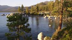 Static shot of shoreline Emerald Bay at Lake Tahoe, California. Stock Footage
