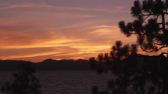 Beautiful sunset above Lake Tahoe at Sand Harbor State Park. Stock Footage