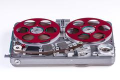 Vintage Reel to Reel Audio Tape Recorder on white background Stock Photos