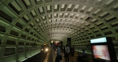 Foggy Bottom Metro Station Train Approaches Platform Stock Footage
