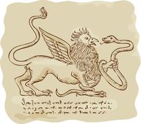 Griffin Fighting Snake Side Etching - stock illustration