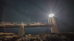 Marshall Point Lighthouse Milky Way Tracking Stock Footage