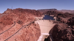 Static shot of hoover dam with cars driving. Stock Footage