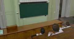 Professor, Chemist, Biologist, Male, is Holding the Class, Lesson in Auditorium Stock Footage