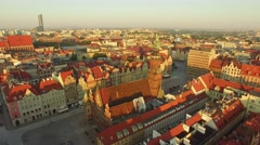 Aerial: Center of Wroclaw, Poland, European Capital of Culture 2016. Stock Footage