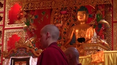 Samyeling Monastery. pujas recited by Tibetan monks from back. Audio. Stock Footage