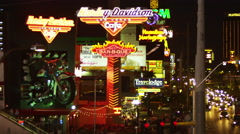 Neon sign of Harley Davidson Cafe on Las Vegas strip Stock Footage