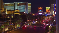 Stock Video Footage of High-angle footage of Las Vegas strip at night