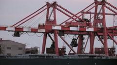 Tokyo Bay cargo docks, Tokyo, Japan - stock footage